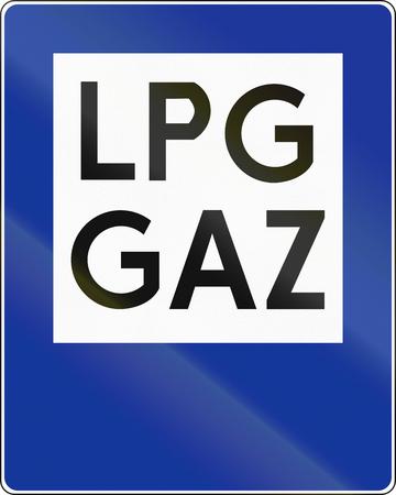 lpg: Polish traffic sign: Petrol station with liquified petroleum gas (LPG). Stock Photo