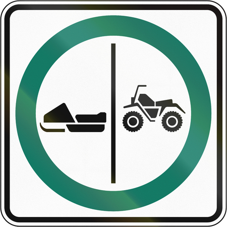 no skid: Regulatory road sign in Quebec, Canada - ATV and snowmobile lane.