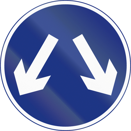 right handed: Irish traffic sign - Keep left or right