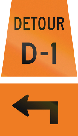 d1: Canadian temporary road sign - Left turn ahead for detour D-1. This sign is used in Ontario. Stock Photo
