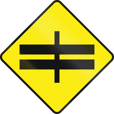 left handed: Irish road warning sign - Divided highway intersection ahead