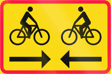two way: Finnish road sign - Two way cycle route