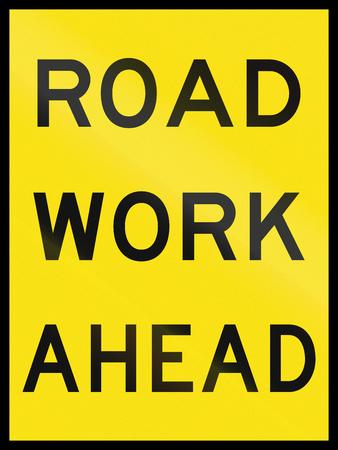 roadwork: An Australian temporary roadwork sign: Roadwork ahead