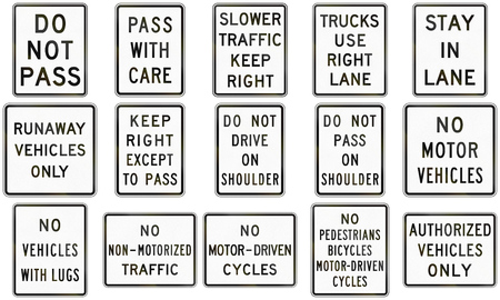 lugs: Collection of text-only regulatory signs used in the USA. Stock Photo