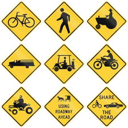 tractor warning sign: Collection of crossing warning used in the USA.