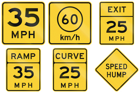 advisory: Collection of advisory speed signs used in the USA.
