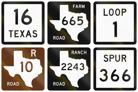 numbered: Collection of numbered road signs used in Texas, USA.