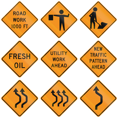 roadwork: Collection of roadwork warning signs used in the USA. Stock Photo