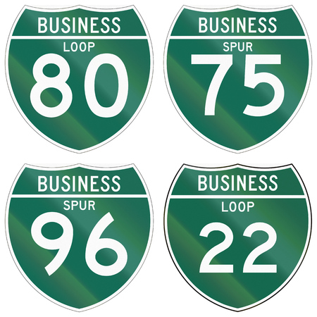 75 80: Collection of numbered business road signs used in the USA.