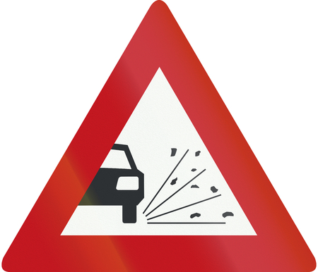 loose: Netherlands road sign J25 - Loose chippings.