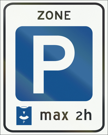 controlled: Netherlands road sign E10 - Entrance to controlled parking zone.