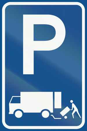 permitted: Netherlands road sign E7 - Parking permitted for the immediate loading and unloading of goods. Stock Photo