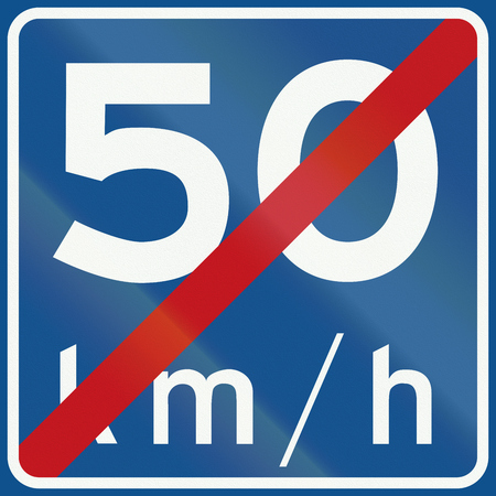kmh: Dutch road sign A5 - End of recommended speed 50 Kmh.