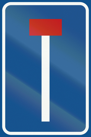 culdesac: Netherlands road sign L8 - No through road for vehicles.