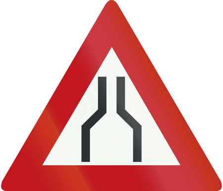Netherlands road sign J17 - Road narrows on both sides. Stock Photo