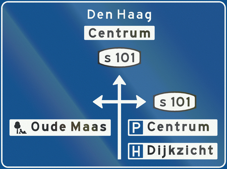maas: Dutch advance information panel within a built-up area showing local destinations.