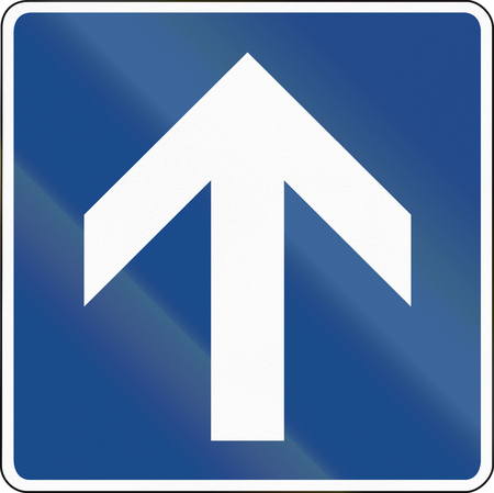 supplementary: One way street (supplementary sign) in Germany.