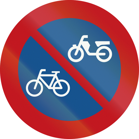 mopeds: A Dutch prohibition sign - No parking of mopeds and bicycles.