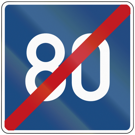 advisory: German information sign: End of advisory speed limit road.
