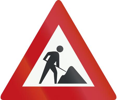 Netherlands road sign J16 - Road works ahead.