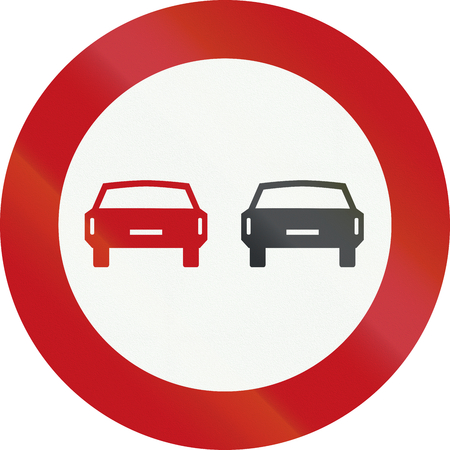 overtaking: A Dutch prohibition sign - No overtaking.
