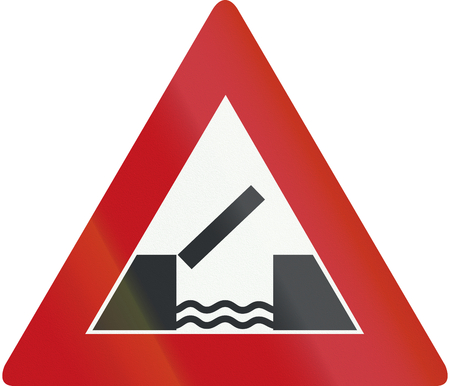 movable bridge: Netherlands road sign J15 - Opening or swing bridge ahead.
