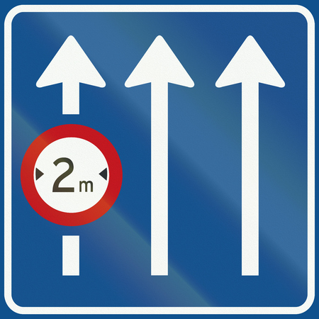 Netherlands road sign L11 - Information on panel applies only to the lane indicated. Stock Photo