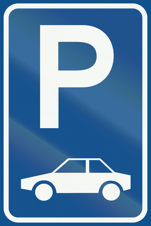 parking facilities: Netherlands road sign E8 - Parking facilities only for passenger cars.