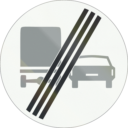overtaking: A Dutch prohibition sign - End of no overtaking for trucks. Stock Photo