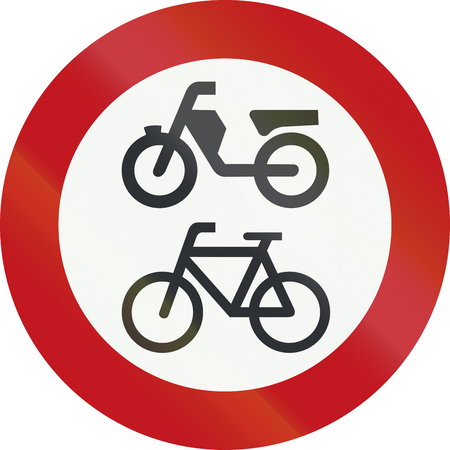 A Dutch prohibition sign - No Mopeds or bicycles.