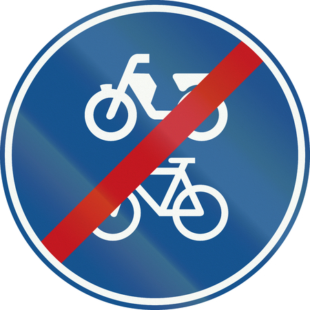 mopeds: Netherlands road sign G12b - End of route for pedal cycles and mopeds only.