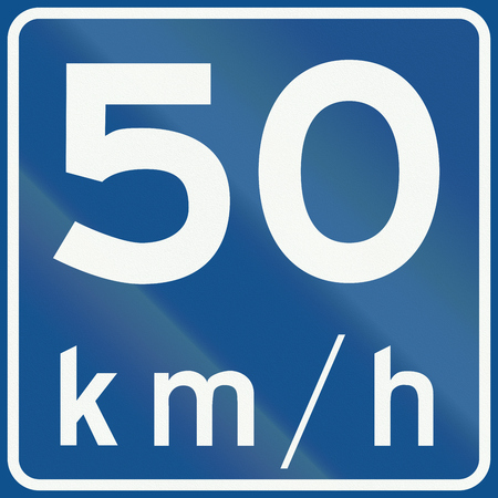 kmh: Dutch road sign A4 - Recommended speed 50 Kmh.