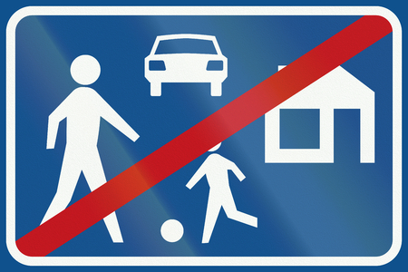 recreation area: Netherlands road sign G6 - End of recreation area. Stock Photo
