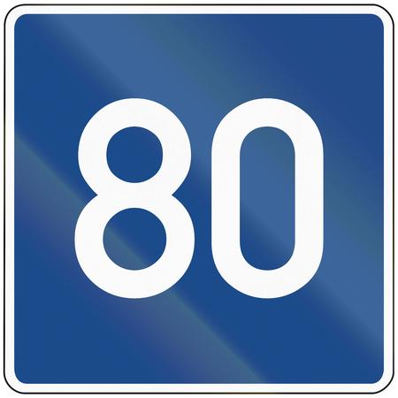advisory: German information sign: Advisory speed limit road.