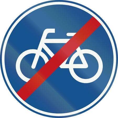 cycles: Holanda señal de tráfico G12 - Fin de la ruta ciclos de pedal. Foto de archivo
