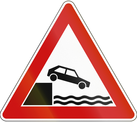 river bank: A road warning sign in Germany: Quayside or river bank.