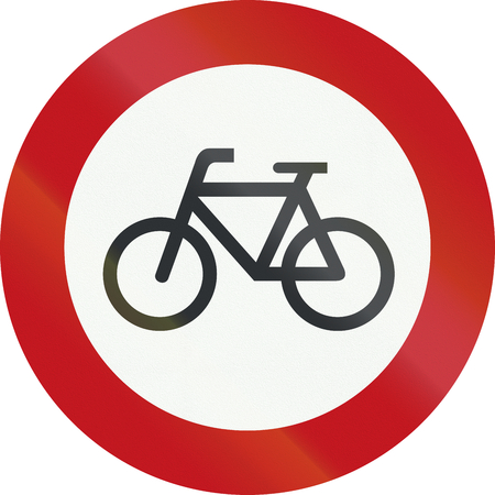 A Dutch prohibition sign - No bicycles.