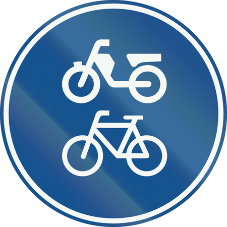 mopeds: Netherlands road sign G12a - Route for pedal cycles and mopeds only . Stock Photo
