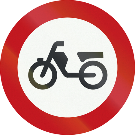 mopeds: A Dutch prohibition sign - No Mopeds.