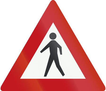 pedestrians: Netherlands road sign J23 - Pedestrians ahead.
