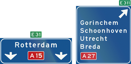 gorinchem: Netherlands road sign K4: High level motorway information sign showing lane instructions. Stock Photo