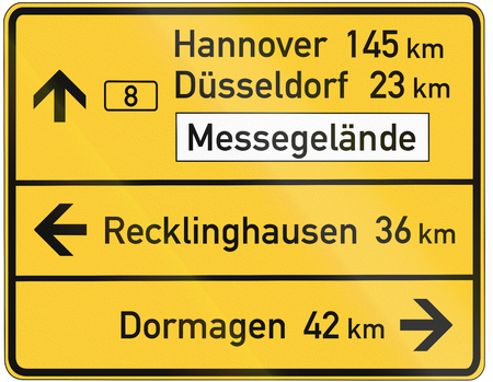 direction sign: German direction sign showing various places including Hannover and Duesseldorf on the federal road B 8. Messegelaende means fairground.. Stock Photo