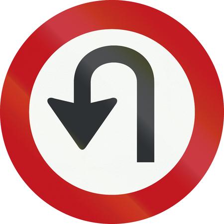 interdiction: Un panneau d'interdiction Néerlandais - Pas de demi-tours. Banque d'images