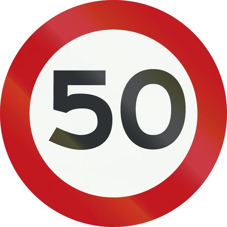 네덜란드 도로 표지판 A1 - 제한 속도 50 Kmh.