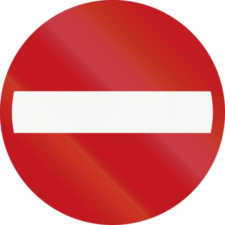 interdiction: Un panneau d'interdiction Néerlandais - Aucune inscription dans cette direction.