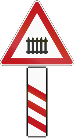 distance marker: A road warning sign with distance marker, announcing a level crossing in 180 meters in Germany. Stock Photo