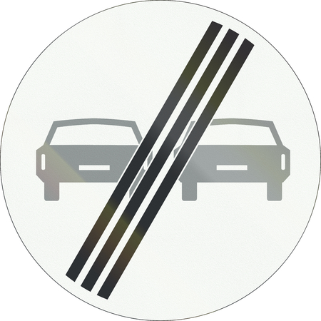 overtaking: A Dutch prohibition sign - End of no overtaking. Stock Photo
