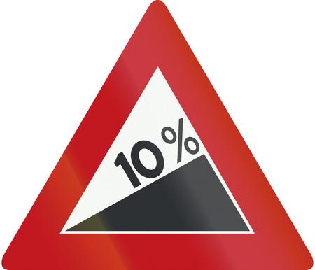 steep: Netherlands road sign J6 - Steep hill upward.