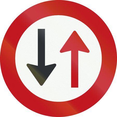 prohibition: A Dutch prohibition sign - Give way to oncoming vehicles. Stock Photo
