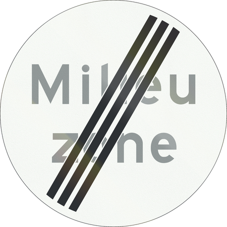 means to an end: A Dutch prohibition sign - End of low emission zone. Milieu zone means environment zone.